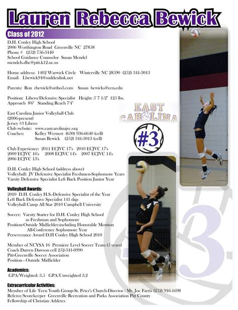 recruiting flyer resume sports resumes recruiting