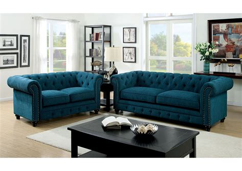 Teal Loveseat by Furniture Ville Bronx Ny Stanford Teal Sofa And