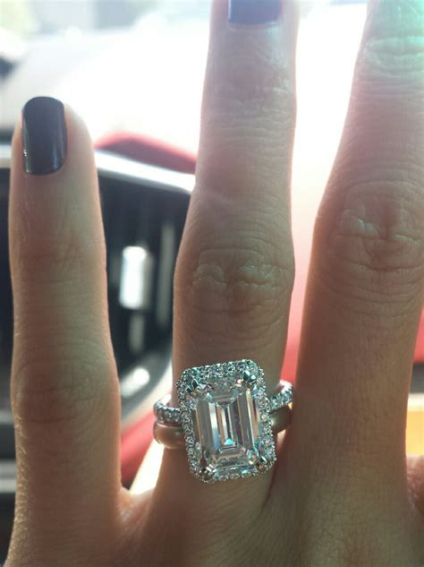 3 carat emerald cut on size 4 finger update weddingbee