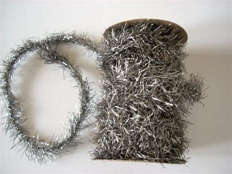 antiqued silver tinsel garland christmas pinterest