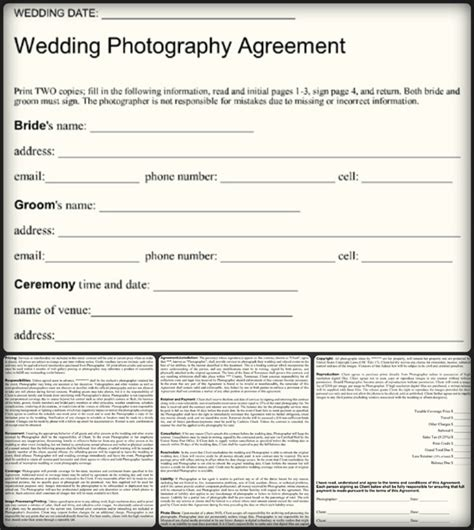 sample wedding photography contract templates word