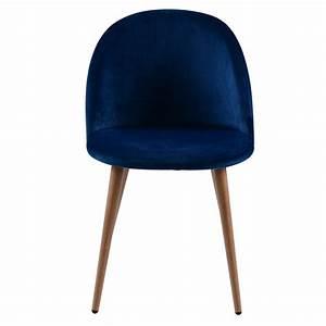Chaise Velours Bleu : chaise scandinave en velours bleu roi lot de 2 koya design ~ Teatrodelosmanantiales.com Idées de Décoration