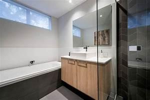 salle de bain bois et carrelage noir With salle de bain carrelage bois