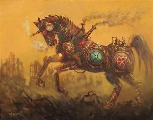 Steampunk War Horse Painting by Tom Shropshire