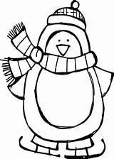 Penguin Coloring Pages Cute Winter Penguins Baby Christmas Ice Skating Basic Drawing Outline Print Printable Sheets Animal Chivas Getcolorings Preschoolers sketch template