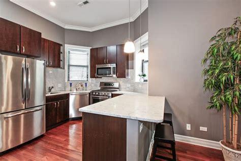 chicago il   grey kitchen walls cherry wood