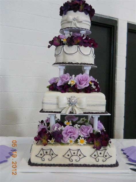 tier purple wedding cake cakecentralcom