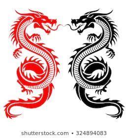 black  red tribal dragon tattoo vector illustration inked dragon tattoo vector dragon
