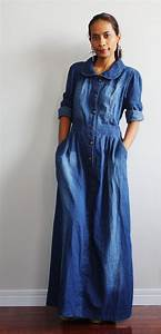 Long Denim Dress - Oasis amor Fashion