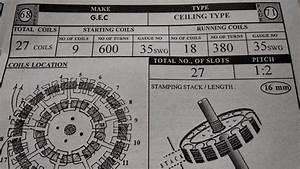 Ceiling Fan Winding Data 9 18 27 Coils  U0026 11 22  33 Coils