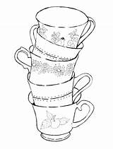 Coloring Tea Cup Teacup Pages Printable Dishes Cups Getdrawings Teacups Getcolorings Pag Adults Colorings sketch template