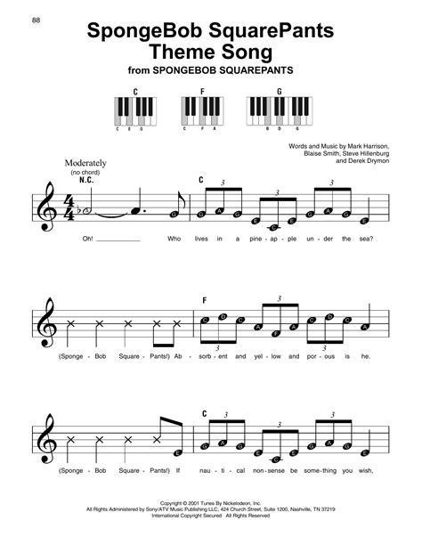 spongebob squarepants theme song sheet   mark