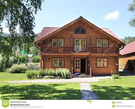 beautiful wooden house   mountains altai stock  image