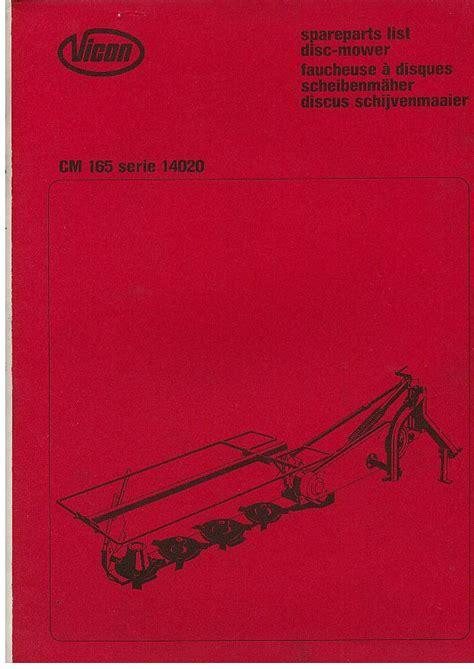 vicon mower cm parts manual
