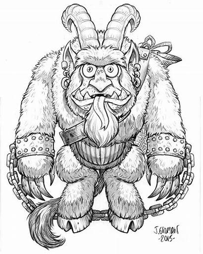 Krampus Coloring Cuddle Pages Don Christmas Drawing