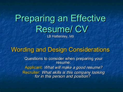preparing an effective resume ppt