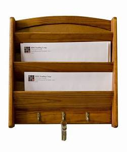 key holder mail organizer storage rack letter bill pine With letter storage