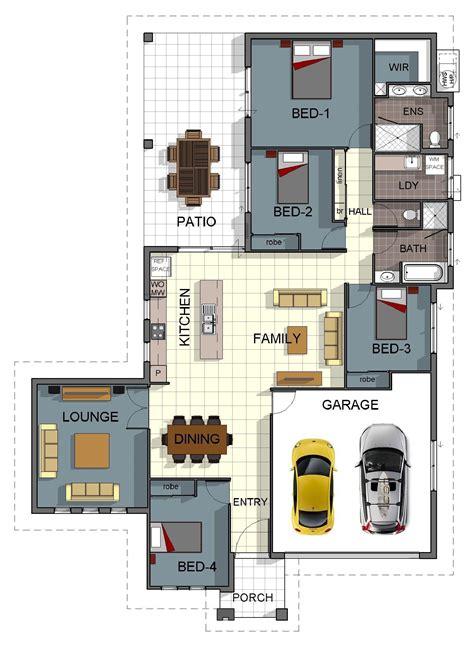 single storey  bedroom house floorplan  additional rumpus room  double garage pool