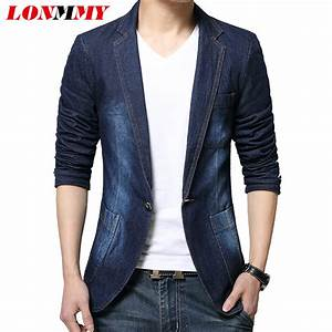 LONMMY Denim blazer men blazer jeans slim fit Cowboy coats Leisure mens suit jean jacket Men ...