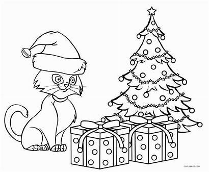 Coloring Cat Pages Christmas Cats Kitty Pete