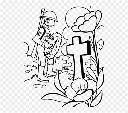 Memorial Clipart Coloring Pages Tomb Visit Remembrance