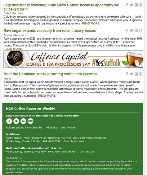 Nca abbreviation stands for national coffee association. National Coffee Association USA > Members > Coffee Reporter Weekly