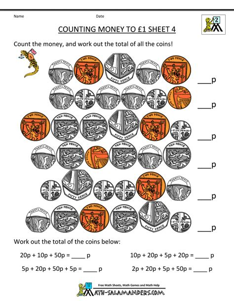free money worksheets counting money to 1 pound 4 gif 800