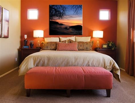 Burnt Orange Bedroom by Orange Accent Wall In Bedroom Bedroom Colors