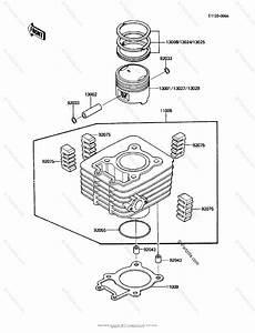 Kawasaki Atv 1986 Oem Parts Diagram For Cylinder  Piston S