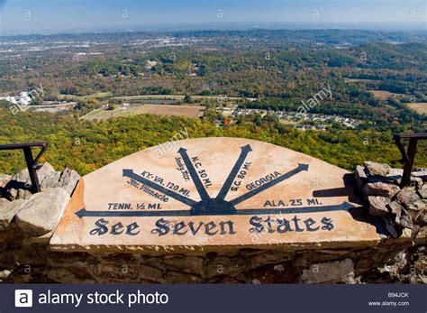 Sign at Seven States Plaza in Rock City Gardens on Lookout ...