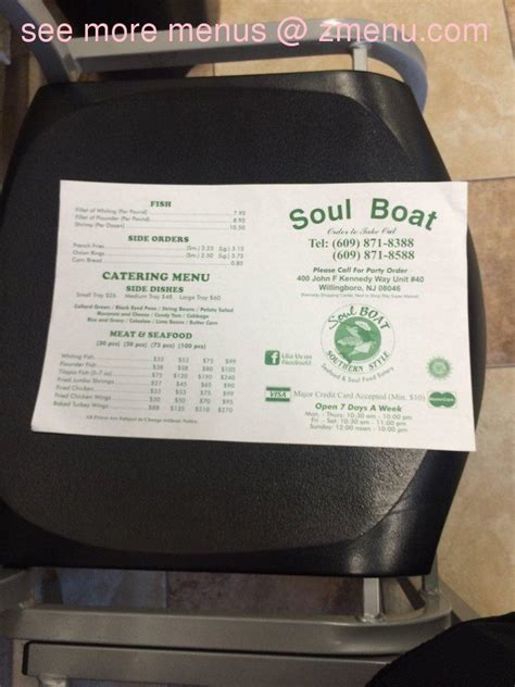 Soul Boat In Willingboro New Jersey by Menu Of Soul Boat Restaurant Willingboro New