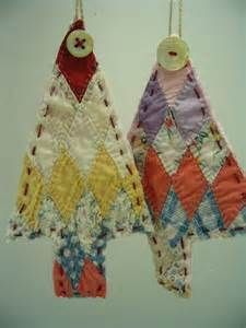 vintage quilt christmas tree ornaments upcycled
