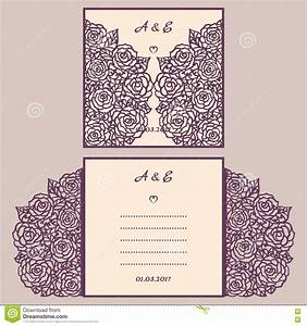 wedding invitation or greeting card with abstract ornament With laser cut wedding invitations vector free