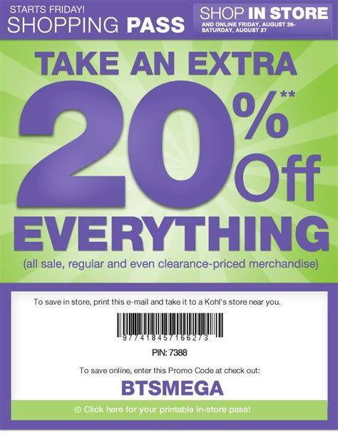 67451 Store Deals Now Discount Code by 20 At Kohls In Store And Freebies2deals