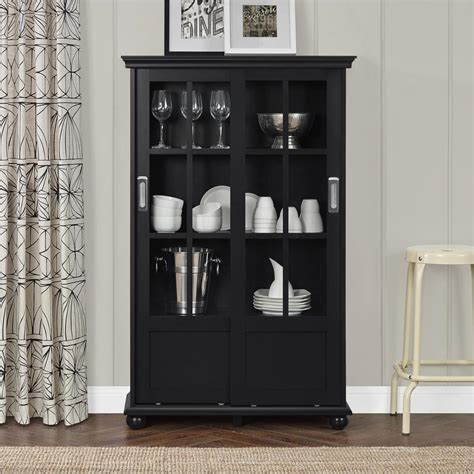 Bookcase Glass Door by Altra Furniture Aaron Black Glass Door Bookcase