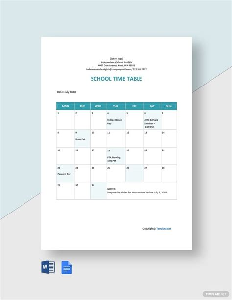 FREE Blank School Timetable Template - Word (DOC) | Google ...