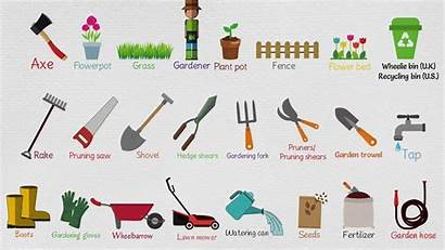 Tools Garden Gardening Names Useful Agricultural English