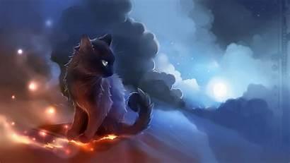 Anime Cat Glowing Artwork Apofiss Wallpapers Desktop