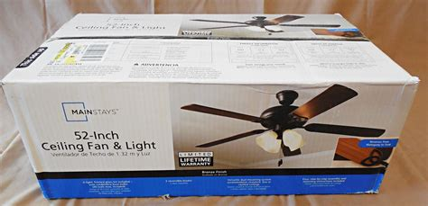 mainstays 52 inch ceiling fan light bronze finish