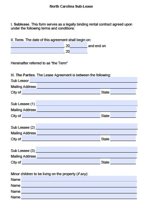 north carolina sublease agreement template