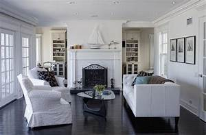Glamorous recliner slipcovers in living room traditional for Rooms with black floors