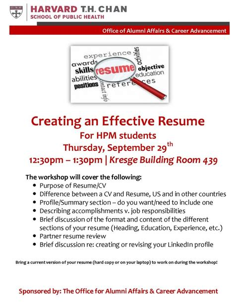 Creating An Effective Resume by Hpm Student Events And Activities Department Of Health