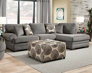 gray plush couch with chaise knockout charcoal 2 pc With plush sectional sofa with chaise