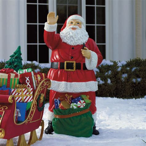 fiber optic santa with bag of toys frontgate outdoor christmas decorations traditional