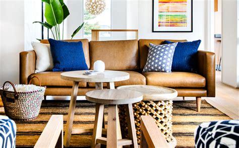 canapé cuir ancien décoration salon bleu marron