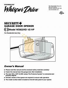 Download Free Pdf For Chamberlain Whisper Drive Wd822kd