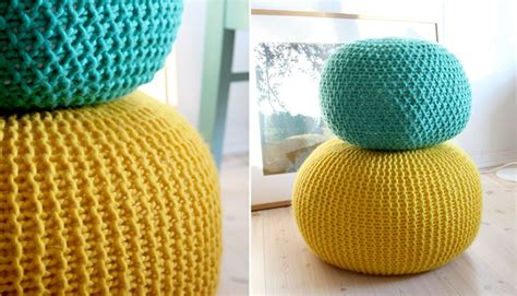 puff knitted stool free knitting pattern pickles diy casa poufs