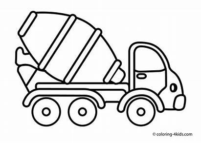 Coloring Truck Pages Dump Mixer Cement
