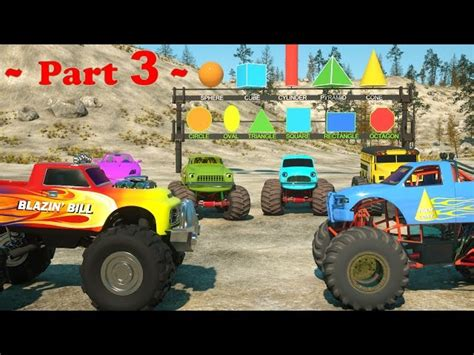 youtube monster trucks racing learn shapes and race monster trucks toys part 3 videos