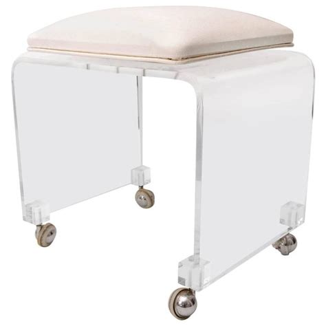 lucite vanity stool swivel seat upholstered in ostrich